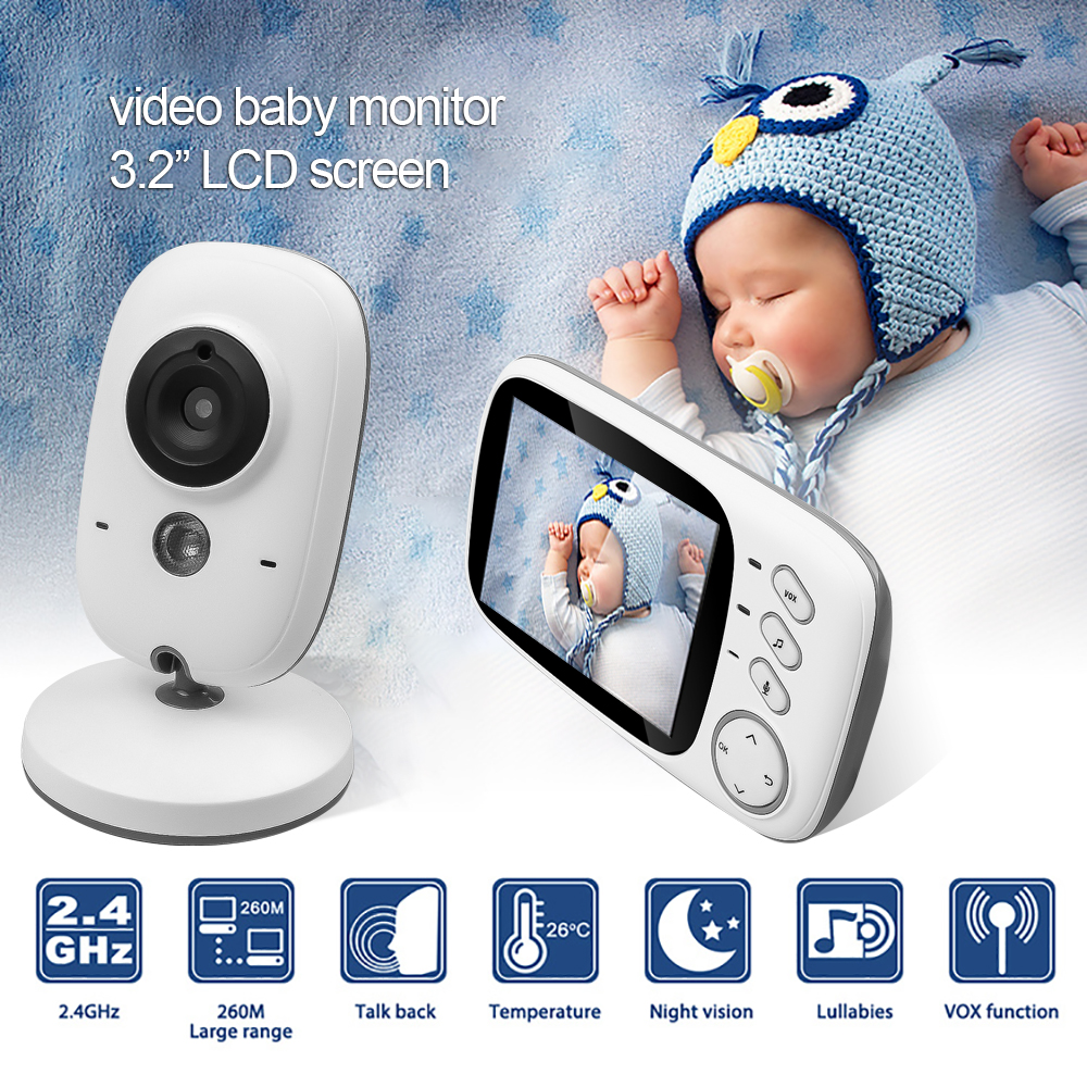 DANMIN 3.2 inch Baby Monitor Temperature Monitoring Wireless Video Color High Resolution Baby Nanny Security Camera Night Vision-in Baby Monitors from Security & Protection    1