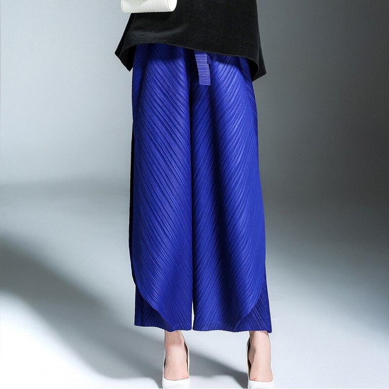 LANMREM 2019 New spring Fashion Black High Waist Elastic Sashes Casual Woman Ankle-length   Wide     Leg     Pants   SC067