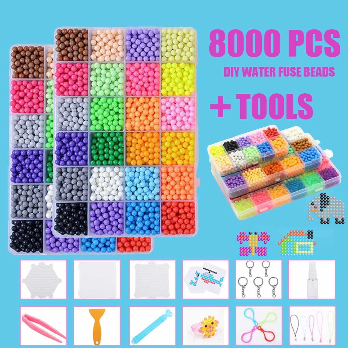 8000pcs Magic Puzzle Toys Water Mist Bead Set Boys Girls DIY Craft Animal Handmade Sticky Beads Educational Toys Kids Gifts