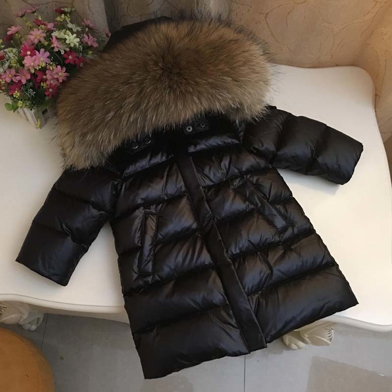 все цены на Kids Down Jacket Winter Girls Boys 90% White Duck Down Thick Warm Big Fur Hoodies Coat Baby Children Long Style -30 Outwear