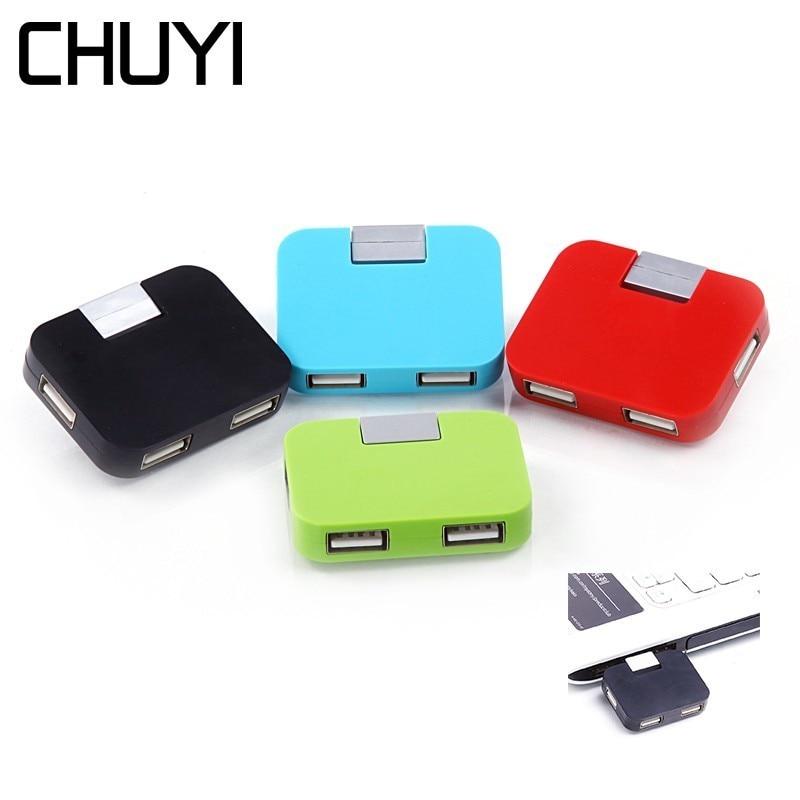 CHUYI Wireless 4 Port Mini USB 2.0 HUB Portable Square Multi USB Folding Splitter For PC Computer Laptop Desktop Accessories