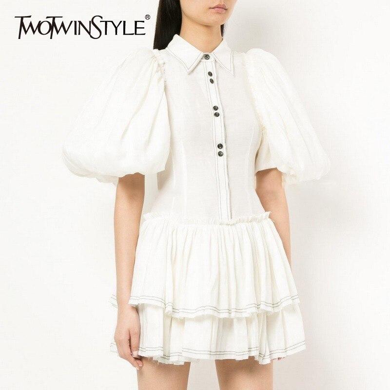 TWOTWINSTYLE Elegant Solid Women Dress Lapel Puff Sleeve Button Slim Mini Dresses Female Summer 2019 Fashion