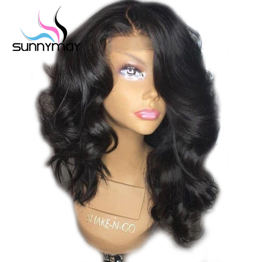 Sunnymay 130 Pre Plucked Full Lace Human Hair Wigs With Bangs Short Brazilian Lace Wig For