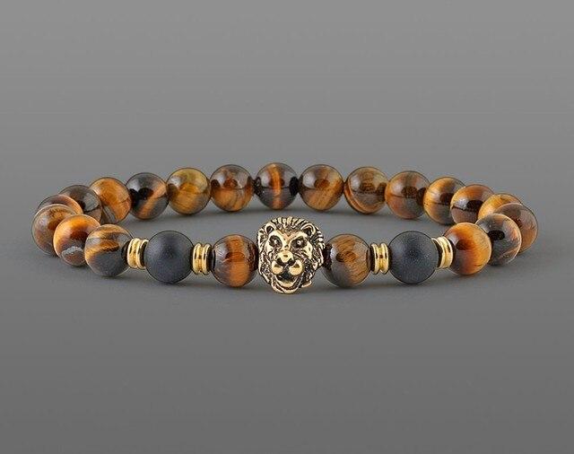 Lion head bracelet Men Classic 8mm Yellow tiger eye Natural Stone Beaded handmade Strand Bracelets male armband heren Jewelry