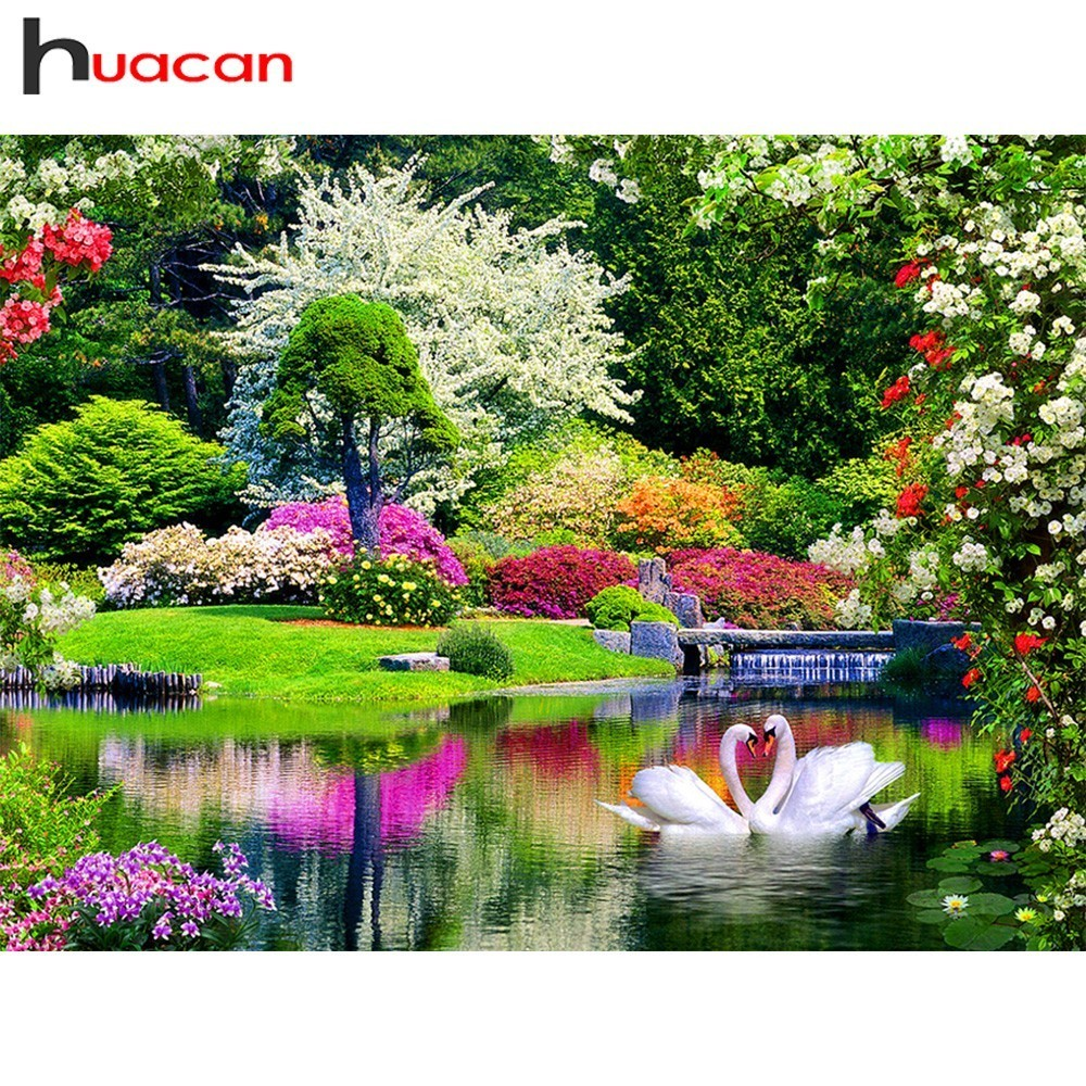 Huacan Diamond Broderi Landskap Bilde av Rhinestones DIY Diamantmaleri Cross Stitch Lake Full Square Diamond Mosaic