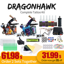Complete Beginner Tattoo Kit Machine Guns Inks Needles Tattoo Power Supply  D1025GD professional tattoo kit rotary machine guns needles beginner kit inks set tattoo power supply