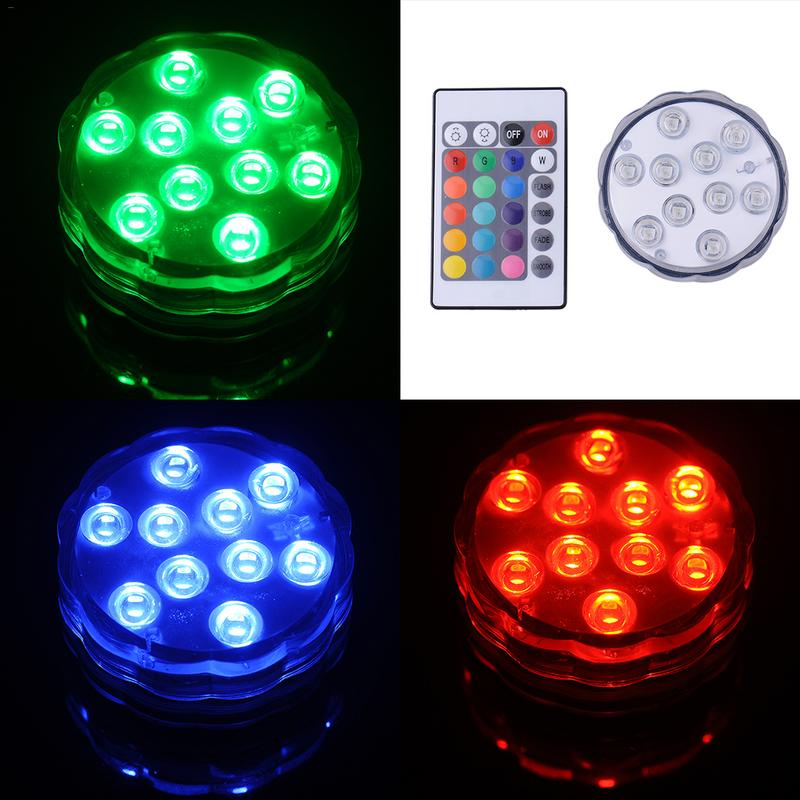 Waterproof Remote Control Diving Decoration Lamp LED Multi Colored Light Bulb Submersible LED Light Party Lamp (no Battery)