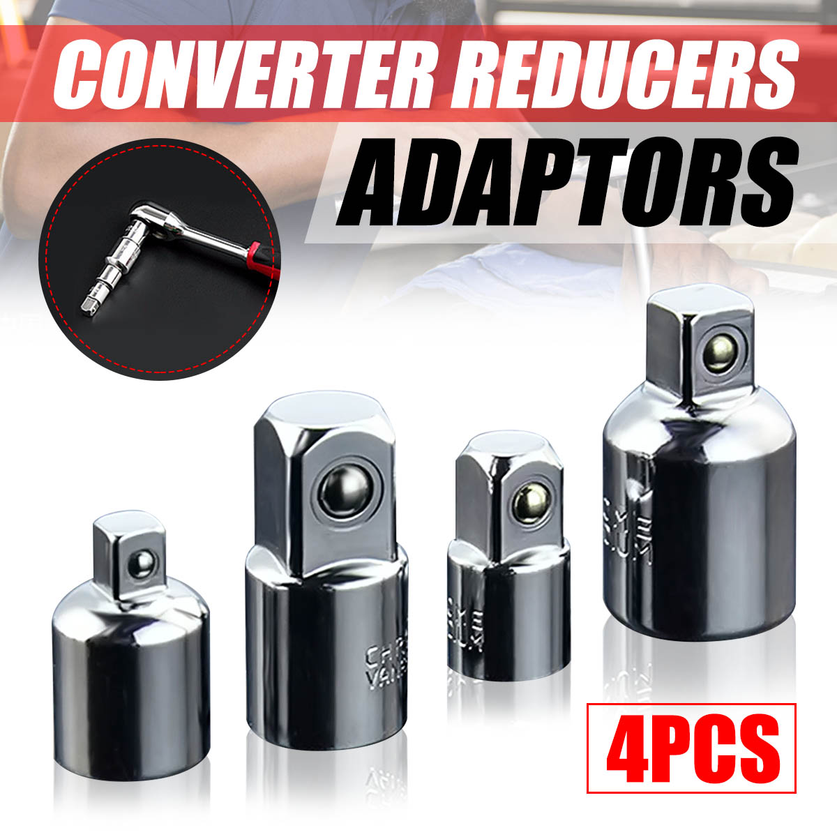 Drillpro 4pcs Socket Ratchet Converter Reducers Adaptors 1/2 3/8 1/4 inch Set High Quality Chrome Vanadium SteelDrillpro 4pcs Socket Ratchet Converter Reducers Adaptors 1/2 3/8 1/4 inch Set High Quality Chrome Vanadium Steel