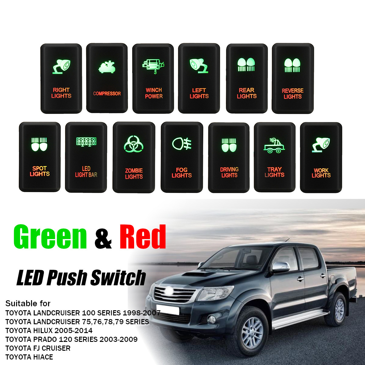LED Light Bar Dash Push Switch for Toyota Hilux Landcruiser W// Wiring Harness