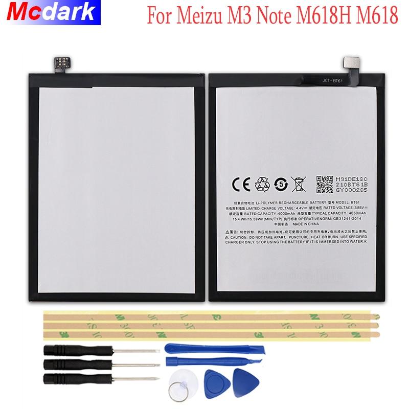 Mcdark 4000mAh BT61 Battery For Meizu M3 Note M618H M618 Batterie Bateria Accumulator AKKU ACCU PIL Mobile Phone with Tools Set