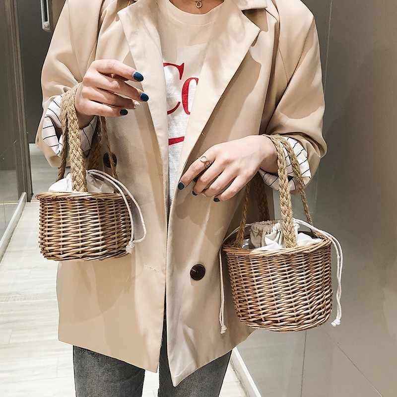 Летние Бамбуковые сумки ручной работы для женщин 2019 Новая мода маленькие в форме ведра кошельки и сумки Sac Женская стильная сумка-ТОТЕ сумки