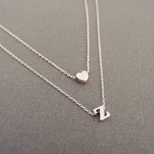 SALE Women Heart Golden Alloy 26 Letters Pendant Necklace Girls Adjustable Double layer Personalized Name friend gift