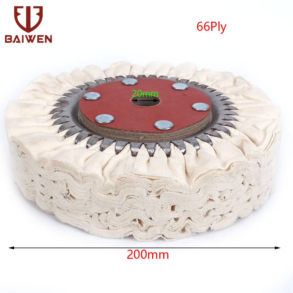 "8"" 200mm Cotton Airway Buffing Polishing Wheel Cloth Pad For Grinder Tools 66 Plys"