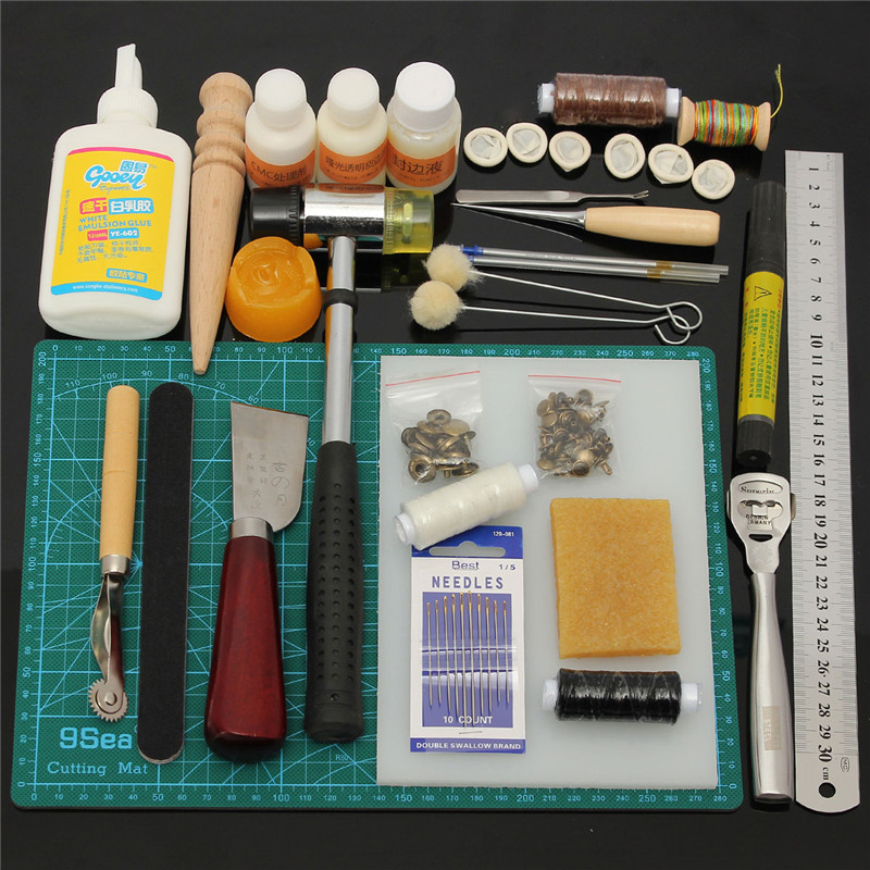 1 Set Durable Leather Craft Tools Professional DIY Hand Sewing Stitching Punch Carving Work Saddle Groover Kit