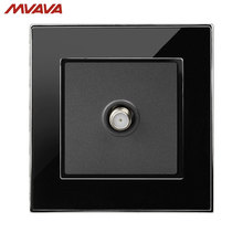 MVAVA Satellite TV Socket Smart Cable Plug Multifunctional Television Outlet Luxury Mirror Black Wall Receptacle Free Shipping