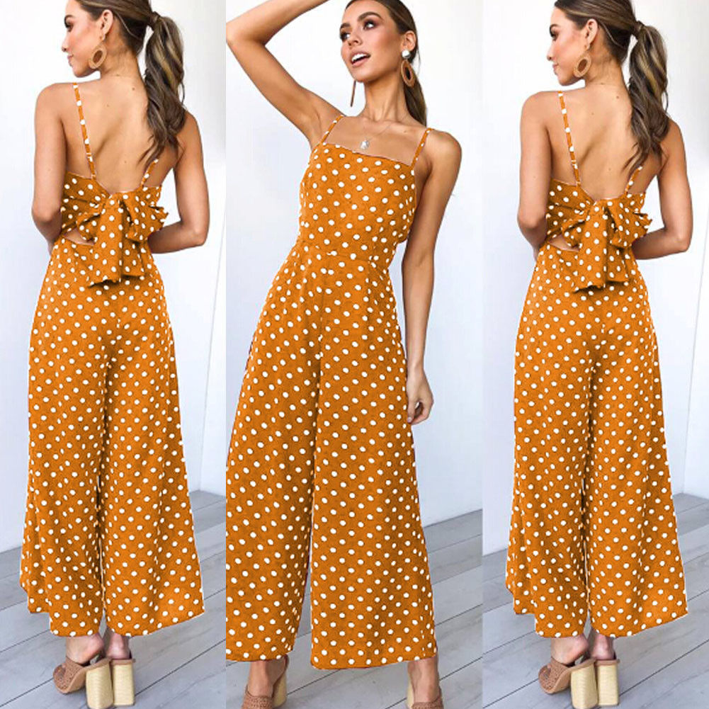 Rompers   2019 New Women Summer Sleeveless Camisole Casual Jumpsuit Playsuit Party Wide Leg Long Trousers   Romper