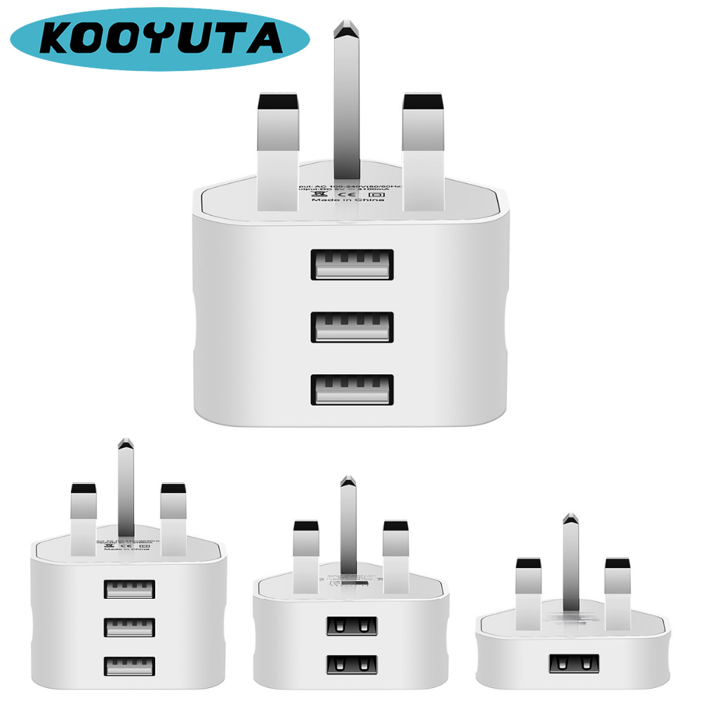 Universal UK Plug Fast Charger 3 Pin Wall Charger Adapter With 1/2/3 USB Ports Travel Charger Charging For Phone Samsung Huawei