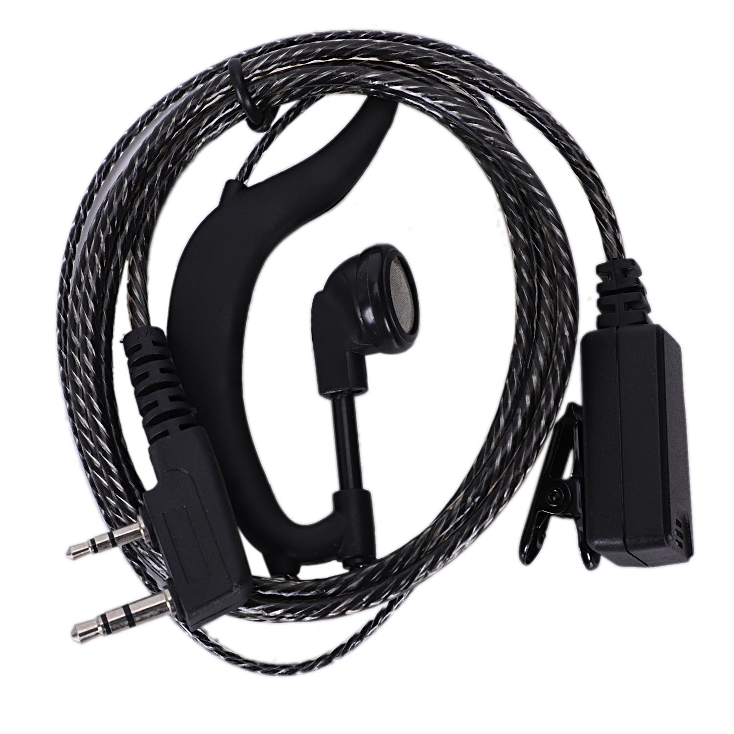 2Pcs 2 Pin G-Shape Headset Ptt Earphone & Micophone For Baofeng 2 Way Radio