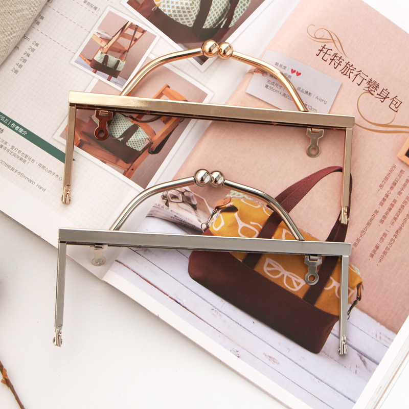 Legs 20CM Screw Design Handle Kiss Lock Bag DIY Coin Purse Bag Accessories Metal Frame Purse Obag Handle Purse Wallet Frame