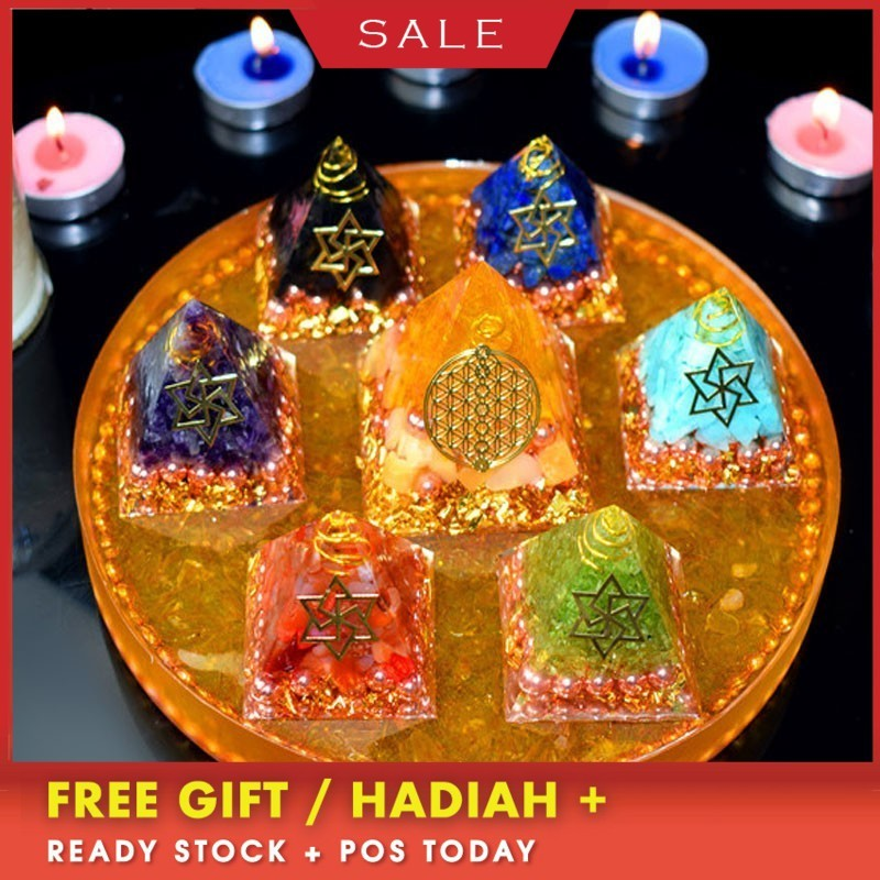 AURA REIKI Orgonite Pyramid Seven-star Tower Array Seven Chakras Transshipment Wealth Help Career Love Family Happy Gift