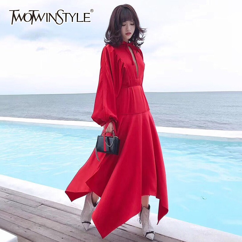 TWOTWINSTYLE Satin Dresses Women Bowknot Lantern Long Sleeve Lace Up Asymmetrical Ankle Length Dress Female 2019