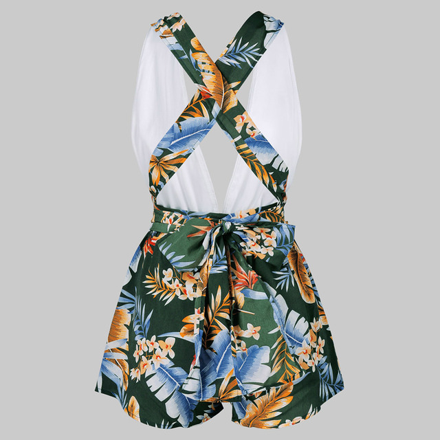 ZAFUL Women Jumpsuits Low Cut Leaf Print Open Back Romper bodysuit Women Vacation Holiday body mujer jumpsuits 2019 Summer 1