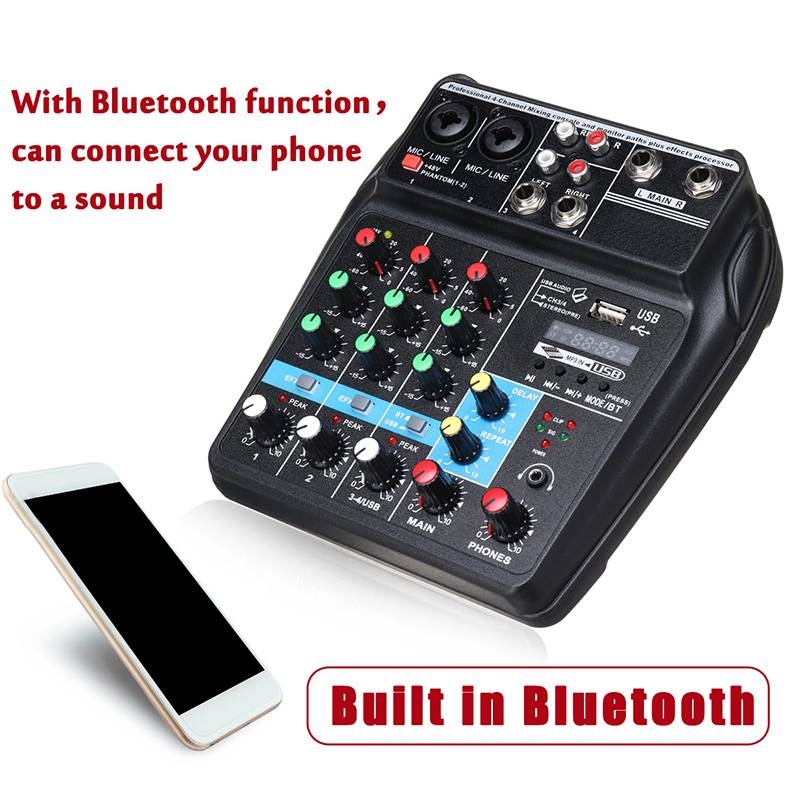 Портативный Bluetooth A4 звук микшерный пульт аудио микшер запись 48 В Phantom Мощность эффекты 4 Каналы аудио микшер с USB