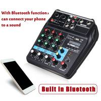 Portable bluetooth A4 Sound Mixing Console Audio Mixer Record 48V Phantom Power Effects 4 Channels Audio Mixer with USB