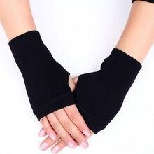Женские Стильные теплые зимние перчатки, женские вязаные хлопковые теплые митенки без пальцев, женские перчатки