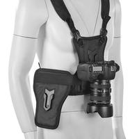 ALLOYSEED Two Camera Carrying Chest Harness Strap System Vest Quick Strap with Side Holster for Digital DSLR Camera