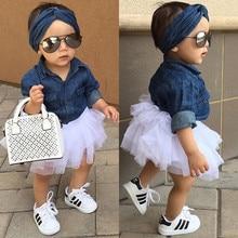 Комплекты летней одежды для маленьких девочек Одежда для маленьких девочек Джинсовая рубашка Топ+ юбка-пачка+ повязка на голову, комплекты одежды из 3 предметов От 0 до 5 лет
