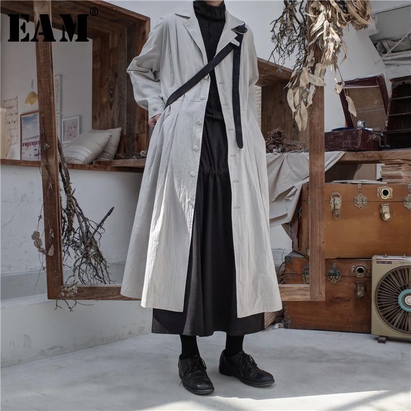 [EAM] 2019 New Spring Winter Lapel Long Sleeve Black Loose Long Pleated Stitch Windbreaker Women   Trench   Fashion Tide JL155