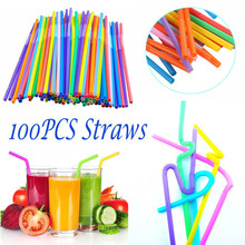 100Pcs Extra Long Flexible Plastic Drinking Straws Party Bar Supplies