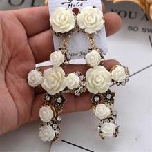 Vintage Flower Cross Baroque Earring Bohimia National Style Long Drop Women Fancy Jewelry 1pair/lot