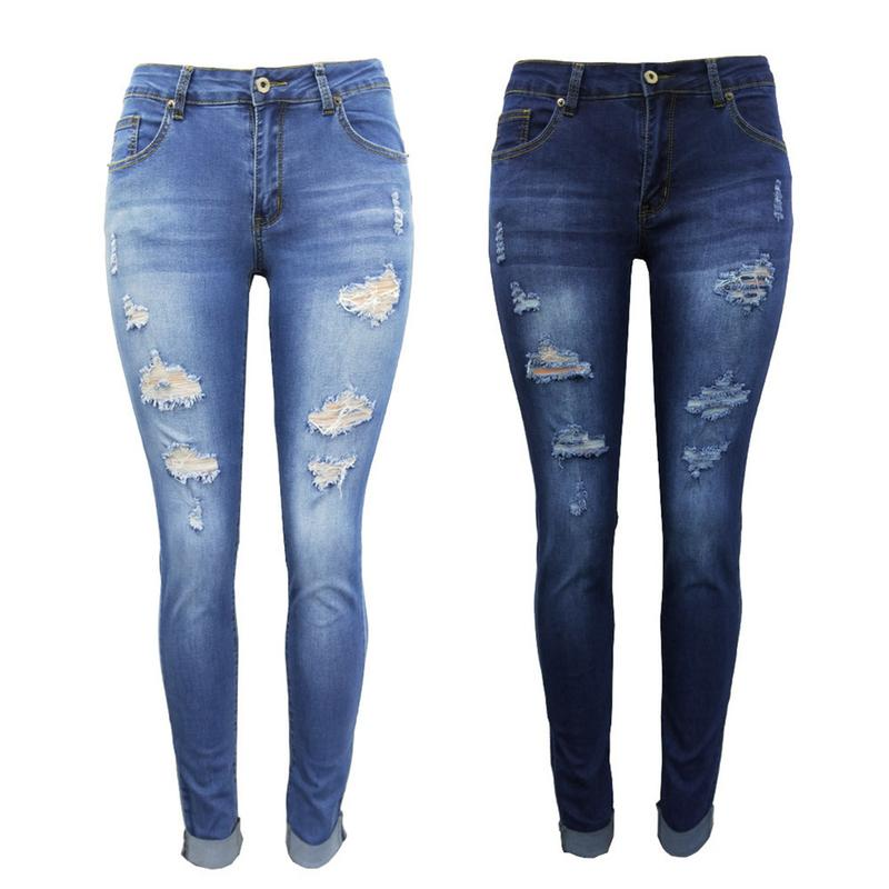 Women Skinny Holes Destroyed   Jeans   Woman Dark Blue Sky Blue Denim Pants Trousers Women   Jeans   Small Feet Pants