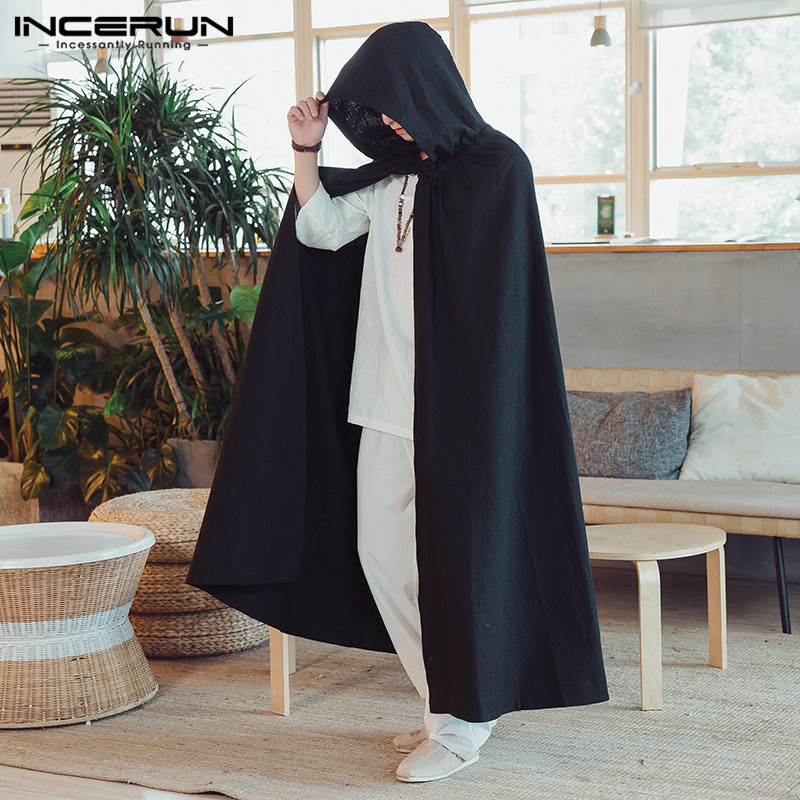 b1e0434b09c64 ... 2018 Chinese Style Men Cloak Vintage Cotton Solid Color Hooded Cape Coat  Loose Fashion Long Windbreaker Men Outerwear on Aliexpress.com