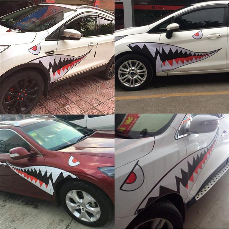 AUTO Shark Mouth Teeth Graphics PVC Car Red Sticker Decal durable for Car US MY