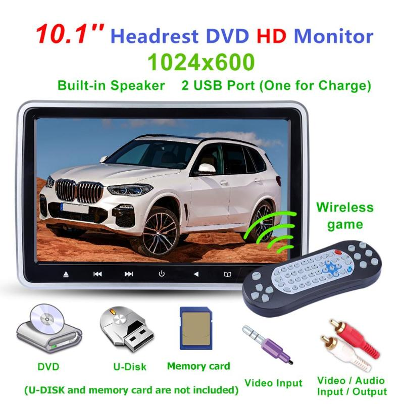 10.1 pouces LCD écran voiture appui-tête TV moniteur lecteur DVD USB IR FM haut-parleur écouteur prise sans fil jeux disque rangée arrière lecteur SD