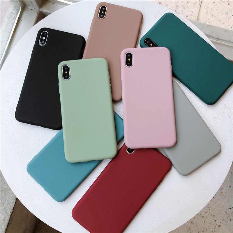 USLION Bonbons Couleur Téléphone étui pour iPhone XS 11 Pro Max XR XS Max X Plaine Housse En Silicone Pour iPhone 6 6S 7 8 Plus Étui Souple EN TPU