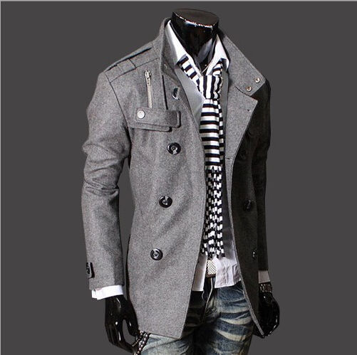 2018 spring and autumn new double-breasted collar badges men's Korean version of the Slim long men's trench coat black