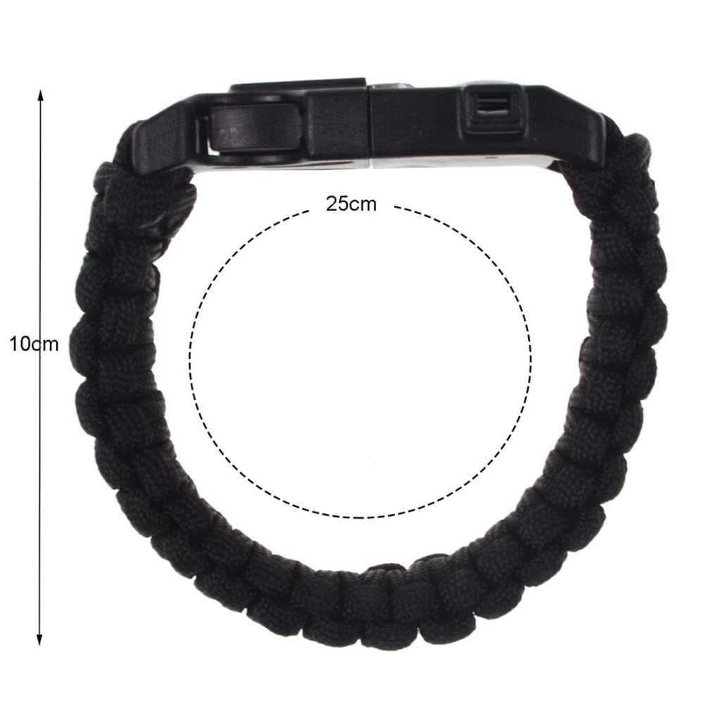 Outdoor Protection Paracord Bracelet Survival Embedded Comp Fire Starter Emergency Knife Whistle Hiking Camping Hunting Gear