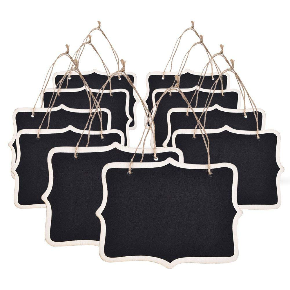 10pcs Mini Chalkboards Signs Hanging Blackboard Rectangle Message Board Double Sided For Weddings, Kids Crafts, Garden Favors