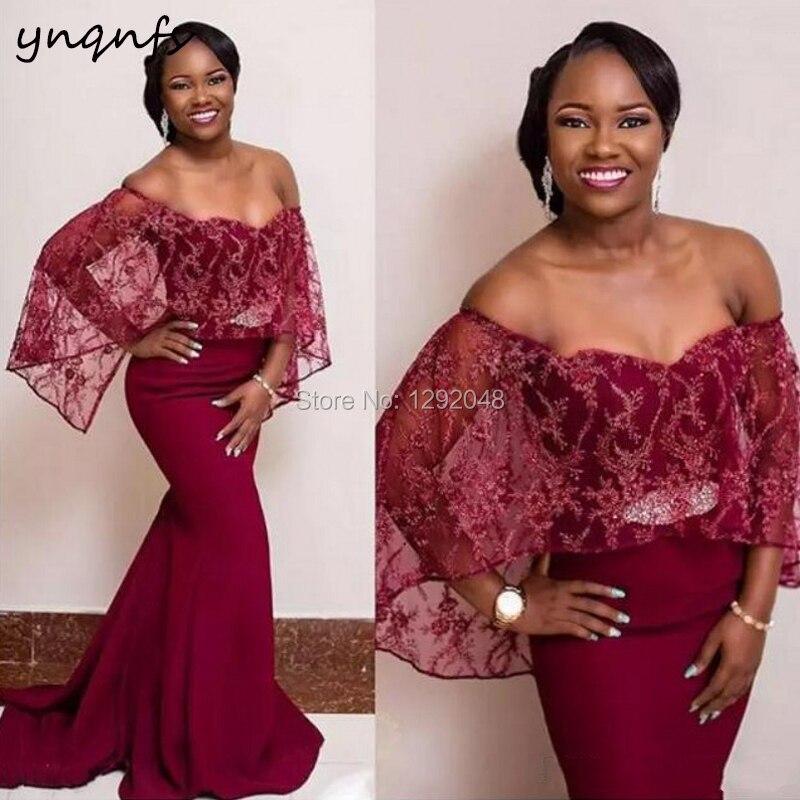 YNQNFS M173 robe de sirène bordeaux élégante robe formelle épaule dénudée Cape manches dentelle mère de la mariée robes de marié 2019