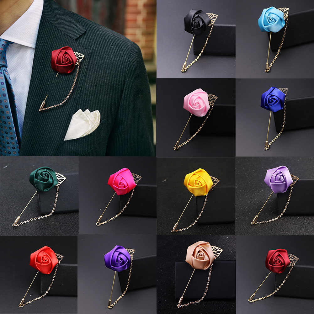 1 pc Rose Flower Brooches for Men Suit Pins Canvas Fabric Ribbon Tie 19 Colors Brooch for Women Clothing Dress Accessories