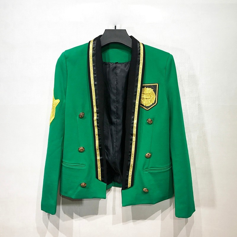 Green / Gold Thread Surround Insignia 2018 New Fashion Stage Suit Men Party Blazer Slim Fit Jacket Singer Coat Performer Coat