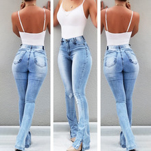 Womens High Waisted Jeans Skinny Ripped Boot Cut Denim Pants Sexy Push Up Flare Trousers Stretch Blue Bell Bottom Jean Female