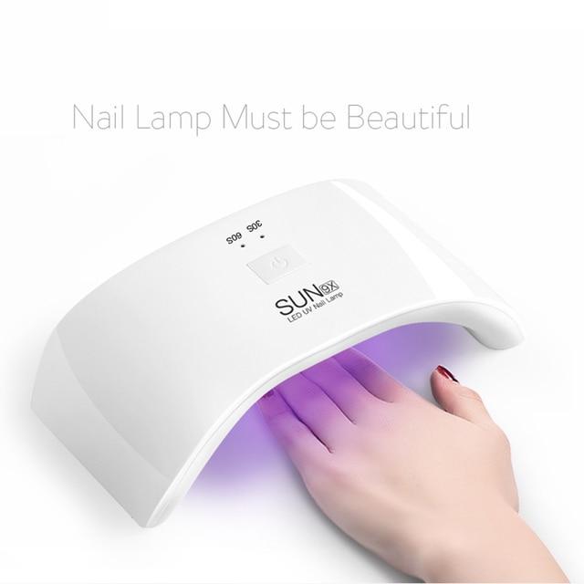 SUN 9X 24W LED Nail Lamp Fingernail Toenail Gel Curing Nail Dryer Professional Nail Gel Machine for Nail Salon