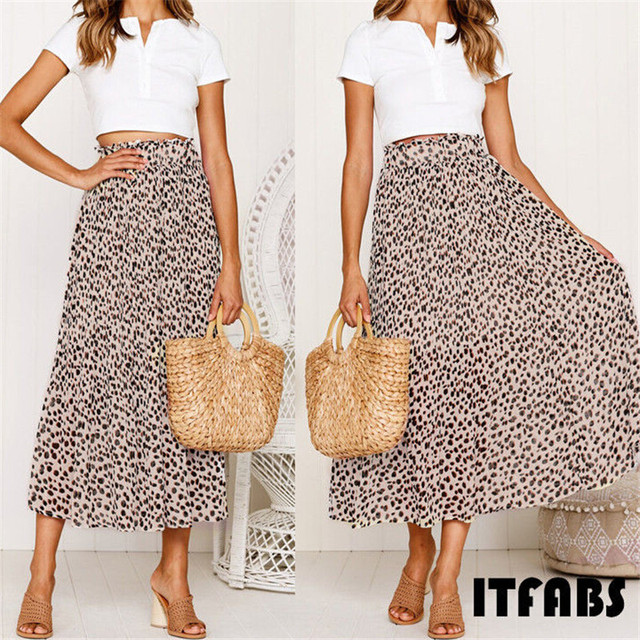 Summer Women Long Leopard Printed Skirt Elastic High Waist Chiffon Pleated Slim Fit Casual Maxi Skirt