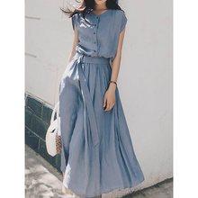 Women Summer Dresses Korean Fashion High Waist A Line 2019 French Vintage Chic Street Casual Belt Slim Elegant School Midi Dress
