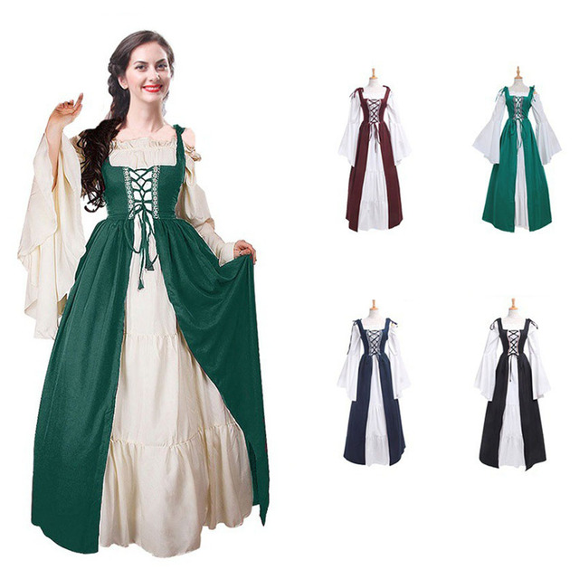 8ce3ee88b5887 US $26.55 38% OFF|Medieval Renaissance Vintage Clothing Halloween Costume  for Women Princess Long Gown Dress Female Palace Wedding Party Uniform on  ...